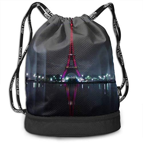 XCNGG Francia París Noche Torre Eiffel Mochila con cordón con Compartimento para Hombres Mujeres Estudiantes Niños Mochila atlética de Moda para Compras de Baile Escolar