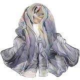 CMTOP Fular De Mujer Bufanda De Seda Diseño Retro Elegante Pañuelo cuello Estola Multicolor