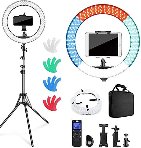 """Pixel Ring Light with Stand and Remote Controller,19"""" Light Ring with Softbox Diffuser and iPad Holder, 60W 3000-5800K CRI≥97 Large Ring Light with 4 Color Filters for YouTube,TikTok Video Shooting"""
