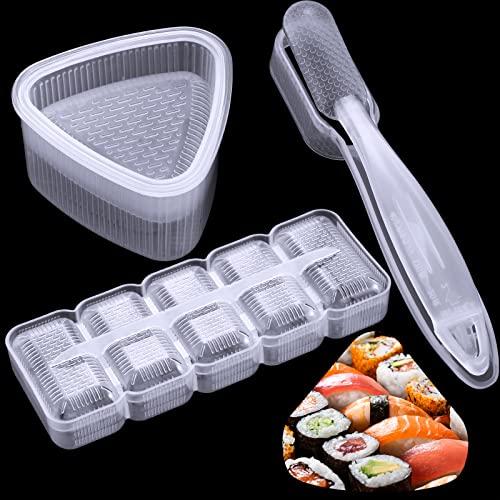 3 Pezzi Muffa di Sushi Creatore Japanese Nigiri Stampo per Sushi Kit, Stampo per Sushi a Triangolo, Rettangolare Stampo per Sushi a 5 Rotoli, Stampo per Sushi Nigiri Antiaderente con Manico Lungo ()