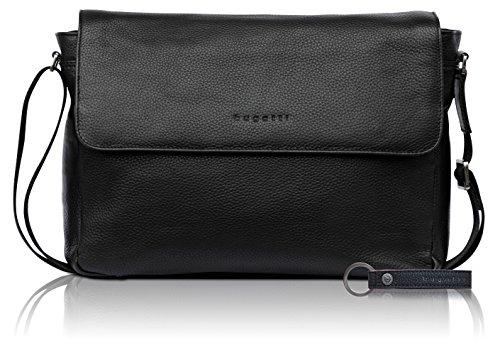 bugatti Citta Messenger-Tasche aus echtem Leder für Herren - edler Messenger in schwarz