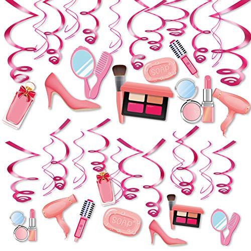 Qpout 30 Pcs Spa Party hängen Spiralwirbel Dekorationen, rosa hängen Streamer Make-up Party Dekor für Mädchen Frauen Spa Party Kinder Geburtstagsparty