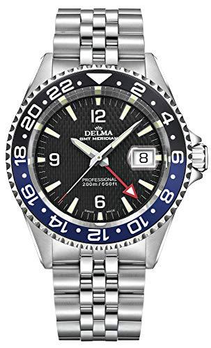 Schweizer Sportuhr - DELMA Herrenuhr - GMT Meridian, Ø 43 mm, schwarz