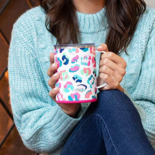 Insulated Mega Travel Mug with Handle and Lid in Colorful Party Animal Print (Multiple Patterns Available)