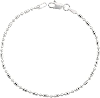 Sterling Silver Dot Dash Pallini Bead Ball Chain 1.8mm Nickel Free Italy, Sizes 7-30 inch