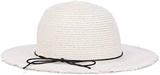 SHENTIANWEI Hat Summer Sun hat Big Along The Ladies Simple Fashion European and American Style Tide hat Knitted Straw hat (Color : White)