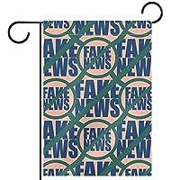 ウェルカムガーデンフラッグ(12x18inch)両面垂直ヤード屋外装飾,シームレスパターンワードフェイクニュース