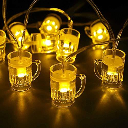ADLOASHLOU Oktoberfest String Light 10Piedi 20 LED Boccale di Birra Luci Decorative della Stringa Funziona a Natteria per l'Oktoberfest, Matrimonio, Festa, Club, Casa, Giardino, Camera da Letto