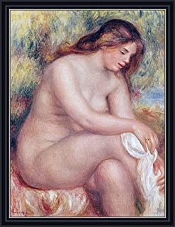 Renoir (Bather Drying her Leg, c.1910) Canvas Art Print Reproduction Framed with 2.6