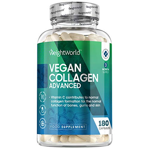 Collagene Vegetale - 180 Capsule Vegan (3 Mesi di Fornitura) - Integratore Alimentare Naturale con Vitamina C & E, Zinco, Acido Ialuronico - Per Pelle, Unghie, Capelli e Articolazioni - WeightWorld