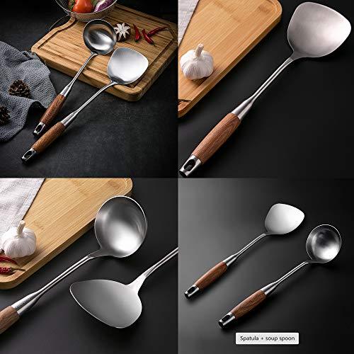 """Espátula y cucharón para wok, utensilios de acero inoxidable 304. Apto para uso en el hogar, hotel, restaurante, 13.7-15"""""""
