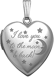 Sterling Silver I Love You to The Moon and Back Locket - 3/4 Inch X 3/4 Inch in Sterling Silver