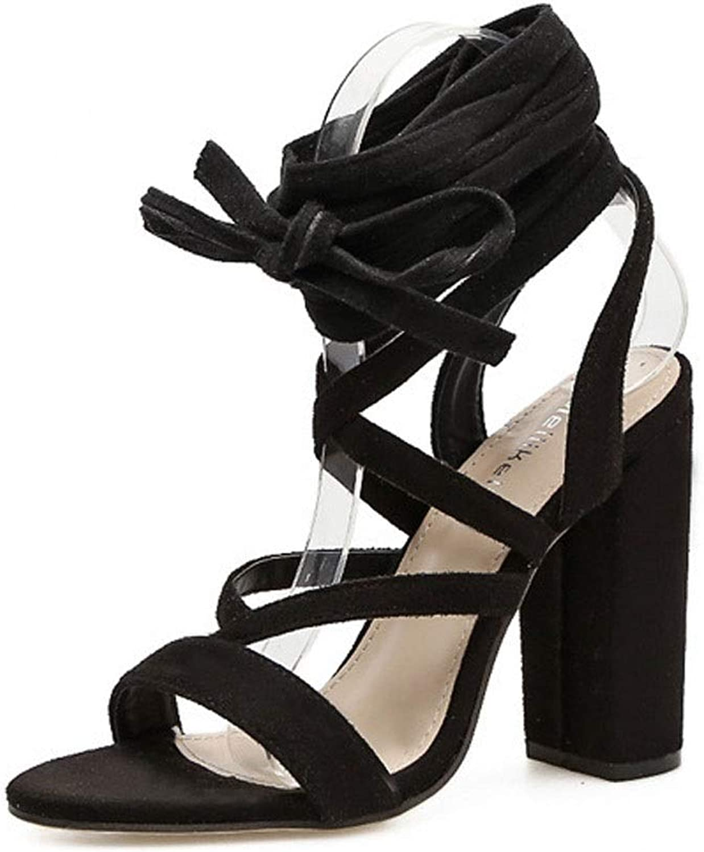 FELICIGG Damen Sandaletten mit hohem Absatz für Frühling und Sommer mit dicken Absätzen (Farbe   schwarz, Größe   40)  | Zu einem erschwinglichen Preis  | Bestellungen Sind Willkommen