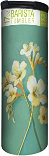 Tree-Free Greetings Irises on Teal Flower Vacuum Insulated Travel Coffee Tumbler, 17 Ounce Stainless Steel Mug, Cute Floral Gift, Blue (BT21713)