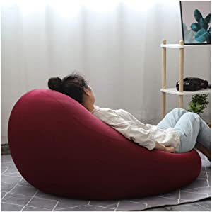 RKRCXH Living Room Beanbag Home Sofa Bean Chair For Adults Gaming Chair Balcony Tatami Bedroom Lovely Single Small Sofa  Color Wine red  Size 21 7x27 6in