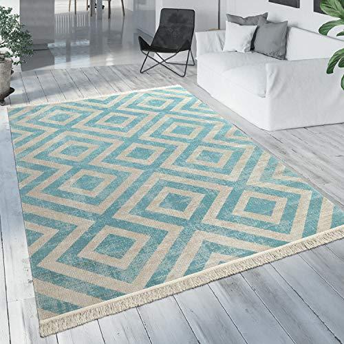 Paco Home Outdoor Teppich Blau Weiß Balkon Terrasse Rauten Muster Skandinavisches Design, Grösse:120x170 cm
