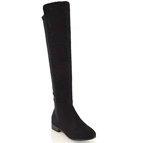 79599c21efb14 ESSEX GLAM Womens Over The Knee High Elasticated Stretch Zip Tall Flat  Ladies Boots Size 3