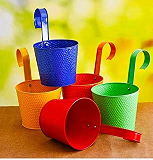 Railing planter impex Round Emboss Railing Planter/Plant pots (Multicolor, Pack of 10)