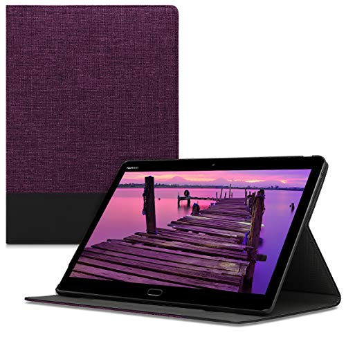 kwmobile Huawei MediaPad M3 Lite 10 Hülle - Tablet Cover Case Schutzhülle für Huawei MediaPad M3 Lite 10 - Violett Schwarz mit Ständer
