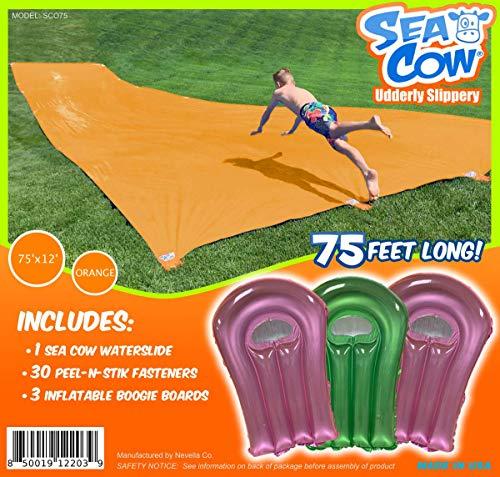 Sea Cow Orange Giant Waterslide 75 x 12 - Includes - 3 Inflatable Boogie Boards, 30 Easy Peel-N-Stik Fasteners, 15 Stakes