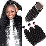 UNice Hair Icenu Series 8A Brazilian Deep Wave Virgin Hair 3 Bundles with 4x4 Lace Closure 100% Unprocessed Human Hair Extensions Weave Natural Color (16 18 20+14, Closure)