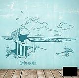 WandtattooWandaufkleber Strandkorb am Meer maritim EIN Tag am Meer M1496 - ausgewählte Farbe: *Schwarz* ausgewählte Größe:*L 120cm breit x 75cm hoch