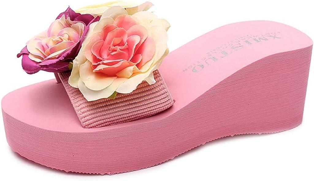 MIOKE Women's Bohemian Flowers Beach Wedge Slides Summer Comfort Platform Nonslip High Heel Thong Sandals