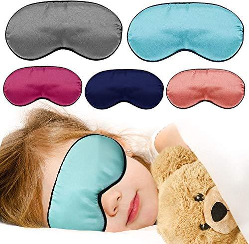 Softe Premium Schlafmaske für Kinder im 5er Set I Süße Augenmaske für Mädchen und Jungen I Blockt zu 100{c4f09a4303f1eb65ec3b2db6fa9554c3d14daf7aef3ec1ad50eba03f080b2e8f} Licht I Atmungsaktiv & Schadstoffrei