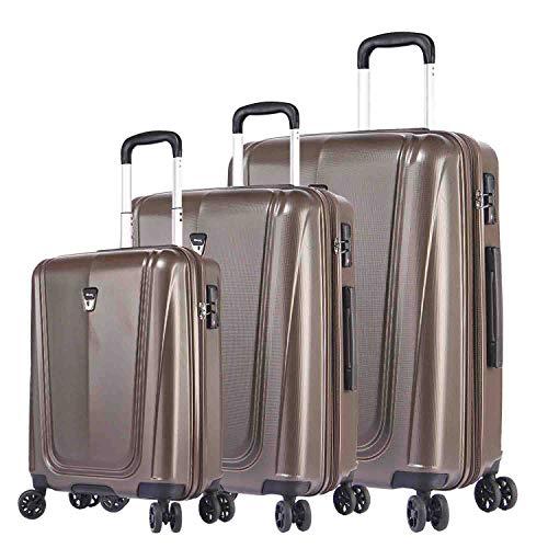 Verage Shiled - Maleta de 4 ruedas, TSA, ampliable, 3 piezas, tamaños S, M, L, ABS rígida, con equipaje de mano, Café Dk. (Marrón) - 21457_21458_21459_01