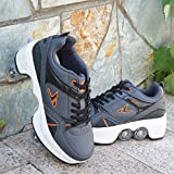 Patines De Ruedas para Mujer, Zapatos Multiusos 2 En 1, Zapatos con Ruedas Patines En Línea, Patines Kick Rollers para Niños,D-EU32/UK3
