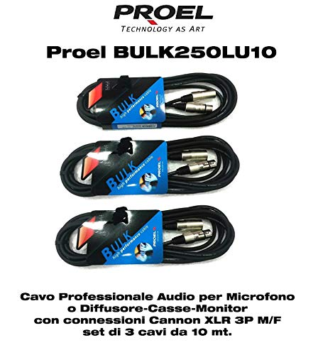 Proel BULK250LU10 (3 UNITA') Cavo Professionale Bilanciato per Microfono con connessioni presa volante Cannon XLR 3P Maschio a spina volante Cannon XLR 3P Femmina - 10mt