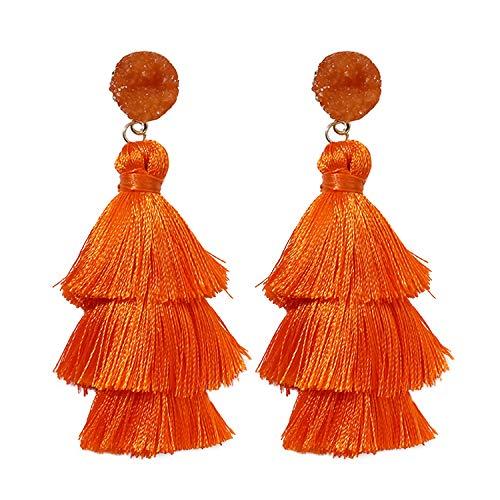 Pendientes borla naranja Rave Envy para la Mujer - en capas de colores pendientes de Bohemia Tassle