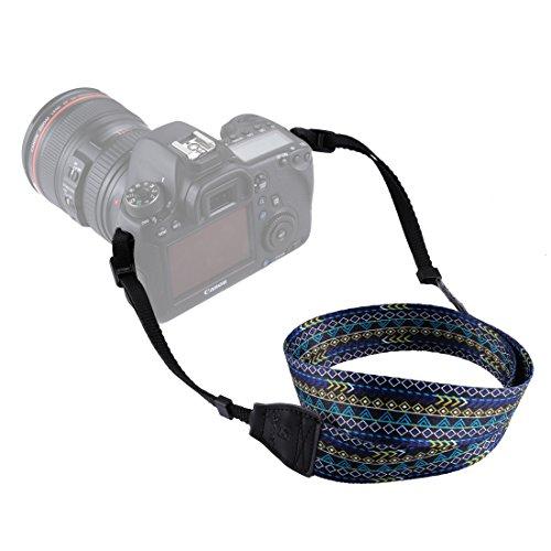 Movoja Kameragurt Retro Blau | Universal DSLR Kamera SLR Tragegurt Schultergurt für Nikon Canon Pentax Sony Olympus Fuji | Kameratragegurt Anti Rutsch Design Vintage Neck Gurt Bohemian Muster