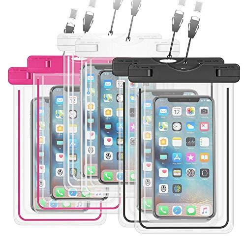 YBWM Custodia Impermeabile Smartphone[IPX8 Certificato],[6 Pezzi] Waterproof Antipolvere Pouch Borsa per Andare Sott'Acqua,Compatible for iPhone,Samsung,Huawei.Meno di 6.5'' -3 Colori