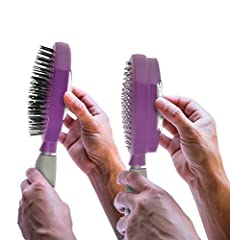 SELF CLEANING HAIR BRUSH - Simply squeeze buttons to retract bristles for easy hair removal and cleaning. DURABLE - Stainless steel suspension, ABS base, nylon bristles, smoked silver platting and water resistant. Performed 2 meter drop test. HEALTHI...