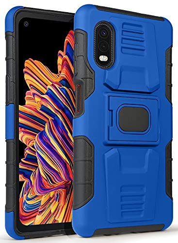 Case for Galaxy XCover Pro, Nakedcellphone [Blue/Black] Rugged Ring Grip Cover with Stand [Built-in Mounting Plate] for Samsung Galaxy XCover Pro Phone (SM-G715)