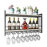 Montado en la pared Estante para vinos Forja de hierro forjado Estantes de pared de madera maciza Estante de vidrio para vino de la sala de estar Cocina Comedor Almacenamiento ( Size : 100x20x55cm )