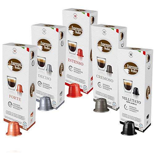 Nespresso Kapseln Kompatibel Probierset von Espresso Italia, 100 Kaffeekapseln, 10 x 10 Getränke