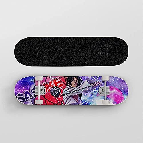 Guerlam Anime Skateboard para Naruto Uchiha Sasuke Clan Logo, Mini Cruiser, Skateboard de plataforma de arce de 7 capas, rodamiento de carga 100 kg, scooter de la calle de la carretera para principian