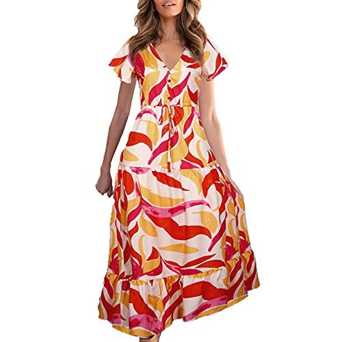 Vestido con Cordones Estampado con Cuello En V Y Estilo Caliente De Primavera Y Verano