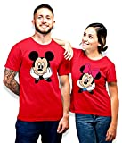 SQ Exports Couple Combo Half Sleeves Mickyy Miniee Design Cotton T-Shirts + Keychains (Red, Men- L,...