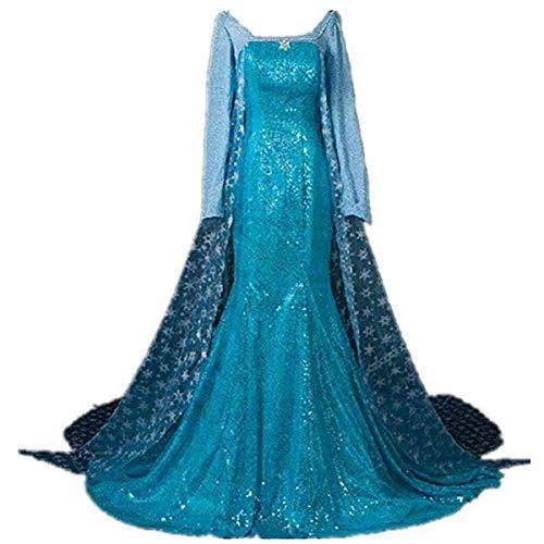 LOBTY Damen Prinzessin Kleid Langarm Bodenlang Kleider Frauen Langes Abendkleid Weihnachten Halloween Party Kleid Fasching Karneval Verkleidung Erwachsene Cosplay Kostüm mit Perücke S-XXL, Blau