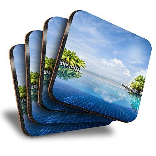 Destination Vinyl ltd Great Posavasos (juego de 4) cuadrados – Island Villa Piscina Vacaciones Bebidas Brillantes Posavasos / Protección de mesa para cualquier tipo de mesa #21726
