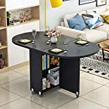 ZYDSD Folding table table with wheels simple living room foldable coffee table Oval dining table multifunctional Mobile Table Wall-mounted drop leaf table (Color : E)