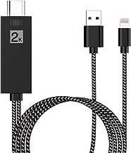 Cable HDMI para Teléfono, Adaptador HDMI 1080P HD Digital AV, Compatible con iPhone 11/11 Pro/XS/XS Max/XR/X/8/7/6/Plus iPad iPod a TV Proyector Monitor (Negro)