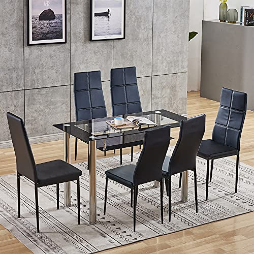 Set of 7 Dining Room Set for Living Room, 2-Tier Glass Dining Table and 6 Black Checkered Faux Leather Dining Chairs, Modern Dining Table Chairs with Metal Legs, 7-Piece Kitchen Table Chair Set