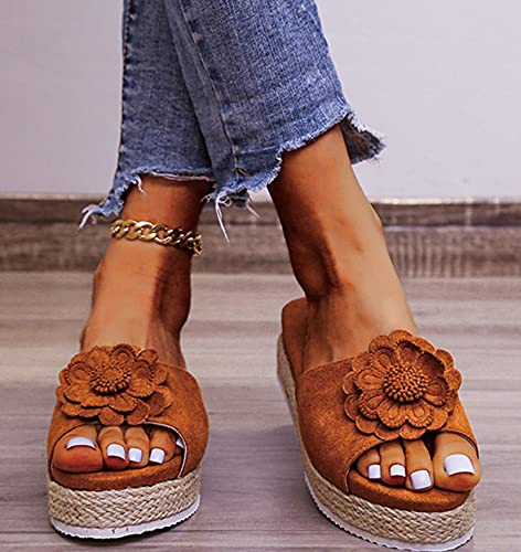 Hwcpadkj Sandalias Mujer Verano con Plataforma Flops Zapatillas Señoras Zapatos Sandalias y Pantuflas Romanas de Punta Abierta de Playa de Cuerda de cáñamo,Marrón,37