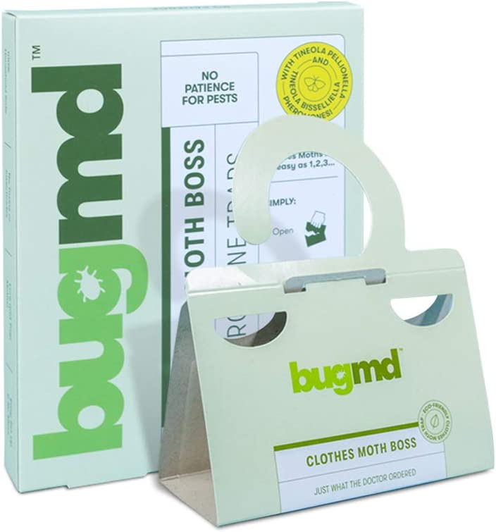 BugMD Clothes Moth Boss Trap Indoor Trap Sticky Strip with Pheromone Attractor, for Cabinets Drawers Closets Wardrobes