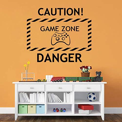 Vorsicht Gefahr Game Zone Controller Für Kinder Selbst FilmArt Vinyl Frauen Schlafzimmer Dekor Wandaufkleber 50X42cm