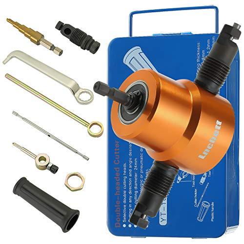 Sharpening Dual-head Sheet Nibbler Metal Nibbler Nibbler Electric with Wrench for Metal Sheet Cutting